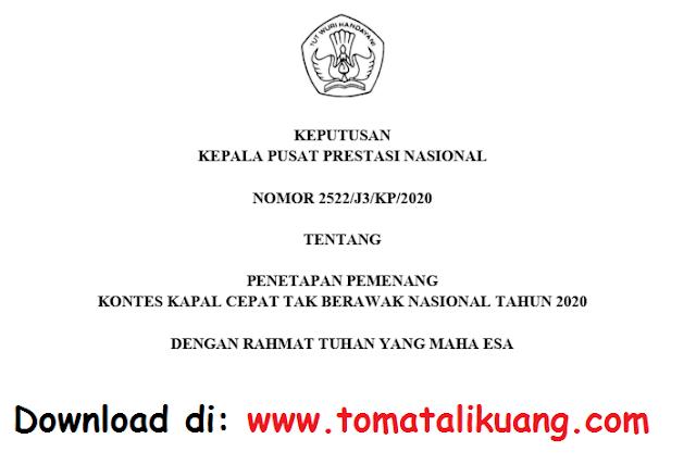 Download SK & Daftar Pemenang KKCTBN Tahun 2020 PDF (Kontes Kapal Cepat Tak Berawak Nasional)
