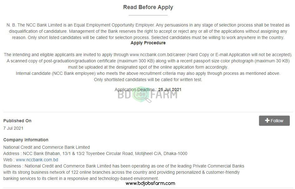 National Credit and Commerce Bank Limited Job Circular