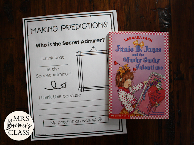 Junie B Jones and the Mushy Gushy Valentine book study literacy unit with Common Core aligned companion activities for First Grade & Second Grade