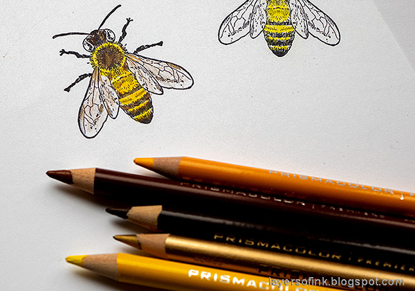 Layers of ink - Honey Bee Artist Trading Card Tutorial by Anna-Karin Evaldsson. Color with colored pencils.