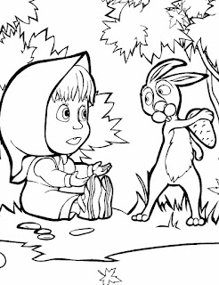 דפי צביעה לילדים בגן מאשה והדוב