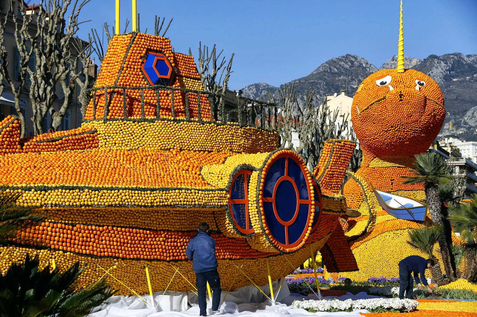 2014, 81st Edition, Animal, Festival, Fete du Citron, France, French Riviera, Fruits, Leagues Under the Sea, Lemon Carnival, Lemons, Menton, Octopus, Oranges, Sculptures, Submarine, Theme, Turtle, Whale,