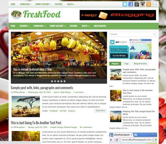 FreshFood Restaurant First food Blogger Template 2016 Free Download