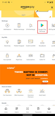 Convert Amazon Pay balance to Google Play account