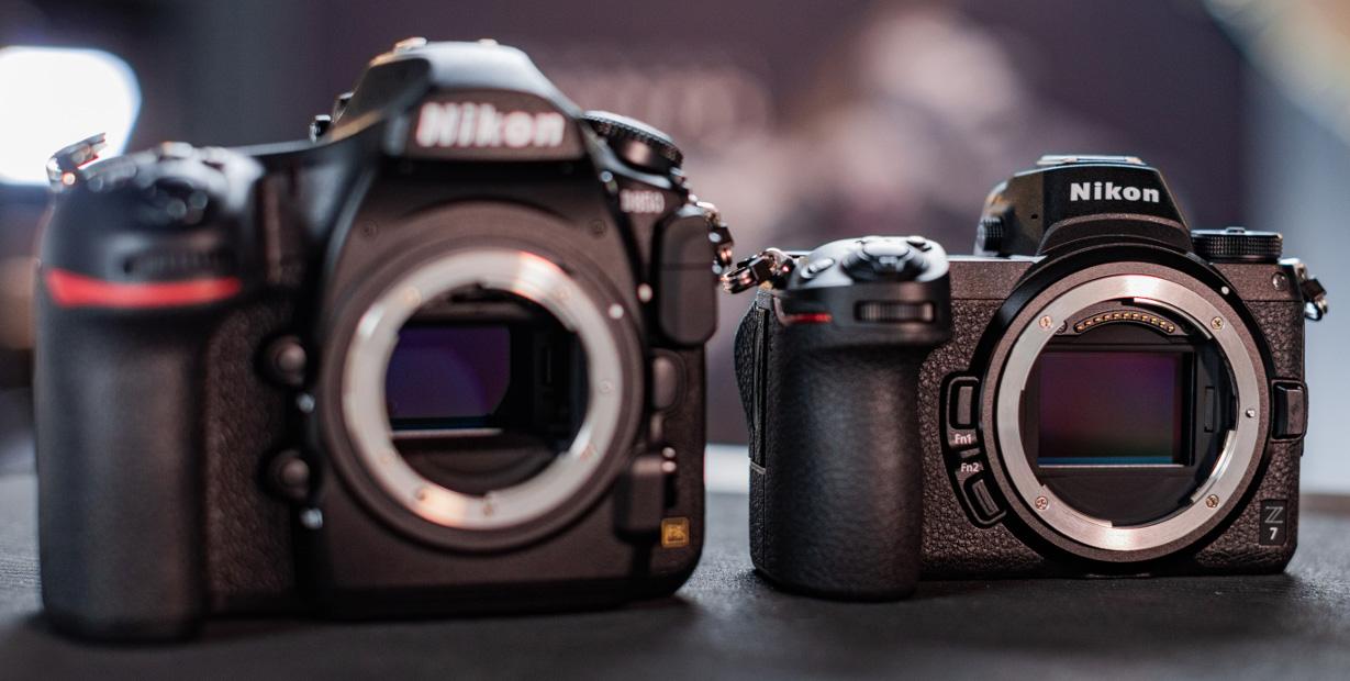 Сравнение размером Nikon D850 и Nikon Z7