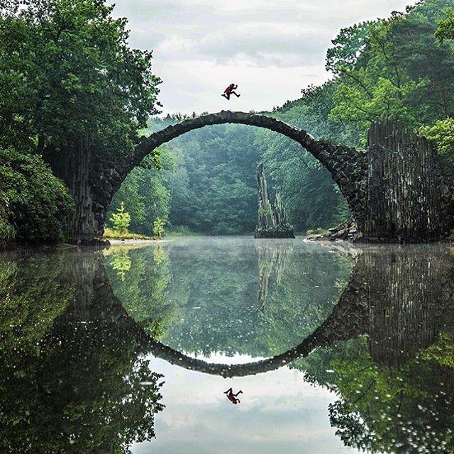 Rakotzbrucke Pont Du Diable Pont Avec Son Reflet Illusion Cercle Parfait 11