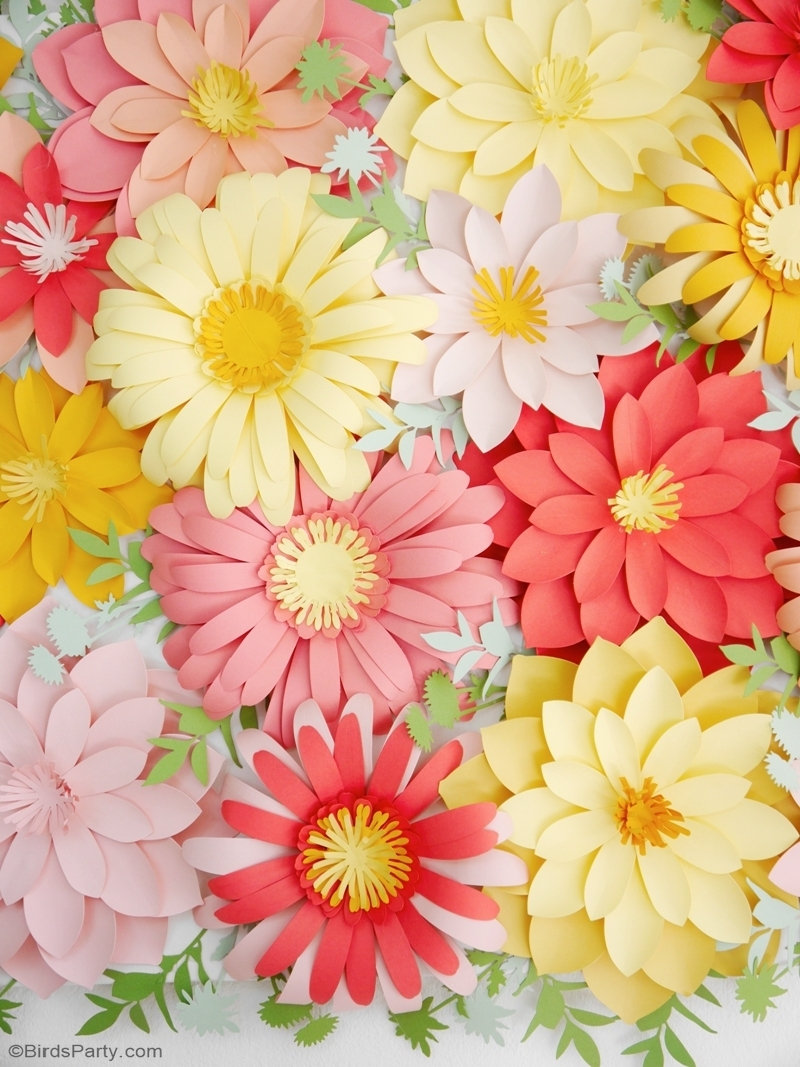 DIY Paper Flowers Backdrop - easy paper craft tutorial for creating beautiful paper flowers for weddings, party photo-booth or home decor! by BirdsParty.com @birdsparty #floralbackdrop #paperflowers #flowerbackdrop #diypaperflowers #diybackdrop #diyweddingbackdrop #didyfloralarch #floralarch #floralwall #diy