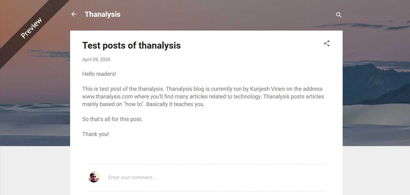 Preview of the blog post - Thanalysis