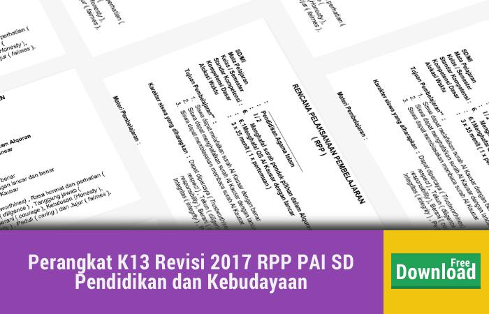 Perangkat K13 Revisi 2017 RPP PAI SD Pendidikan dan Kebudayaan