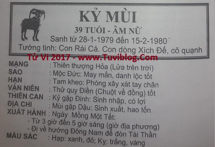 Tu vi 2017 Ky Mui nam mang