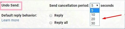 Change send cancellation period