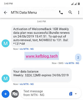 Screenshot showing successful activation and data balance of MTN weekly 1gb data subscription for 200 Naira