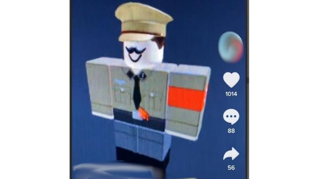 One video used a Hitler lookalike character from the video game Roblox