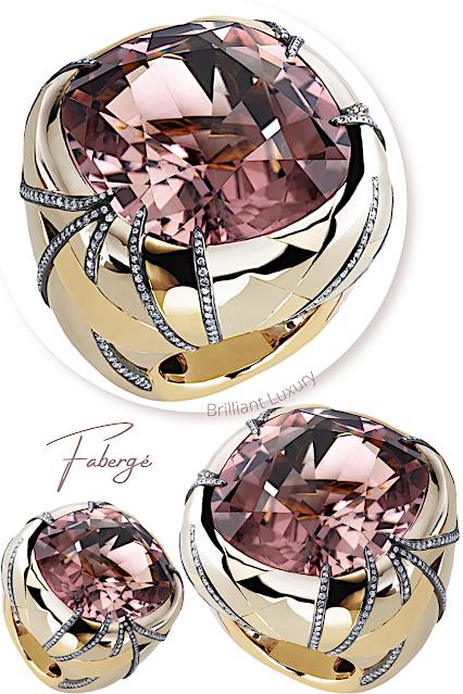 Fabergé Illumination 52ct pink tourmaline chunky ring with diamonds in 18k gold #brilliantluxury