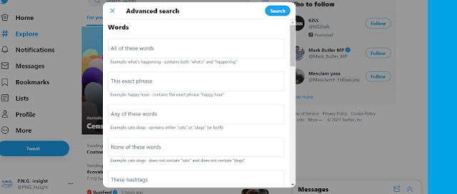 Web app link for Twitter Advanced search