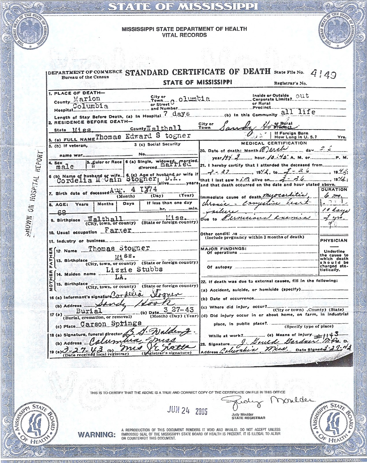 The family snoop death certificate thomas edward stogner death certificate thomas edward stogner xflitez Images