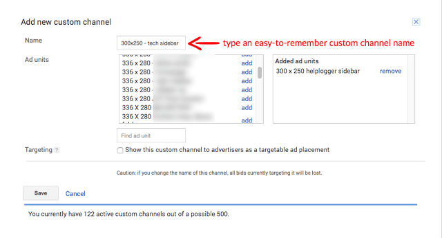new google adsense custom channel