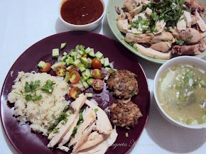 Hainanese chicken and rice, with The soup..