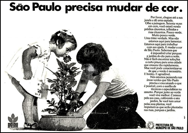 Propaganda antiga da Prefeitura de São Paulo para preservar áreas verdes em 1973