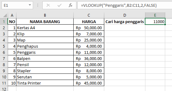 Contoh VLOOKUP dalam tabel harga barang
