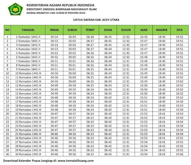 jadwal imsakiyah ramadhan buka puasa kabupaten aceh Utara 2020 m 1441 h tomatalikuang.com