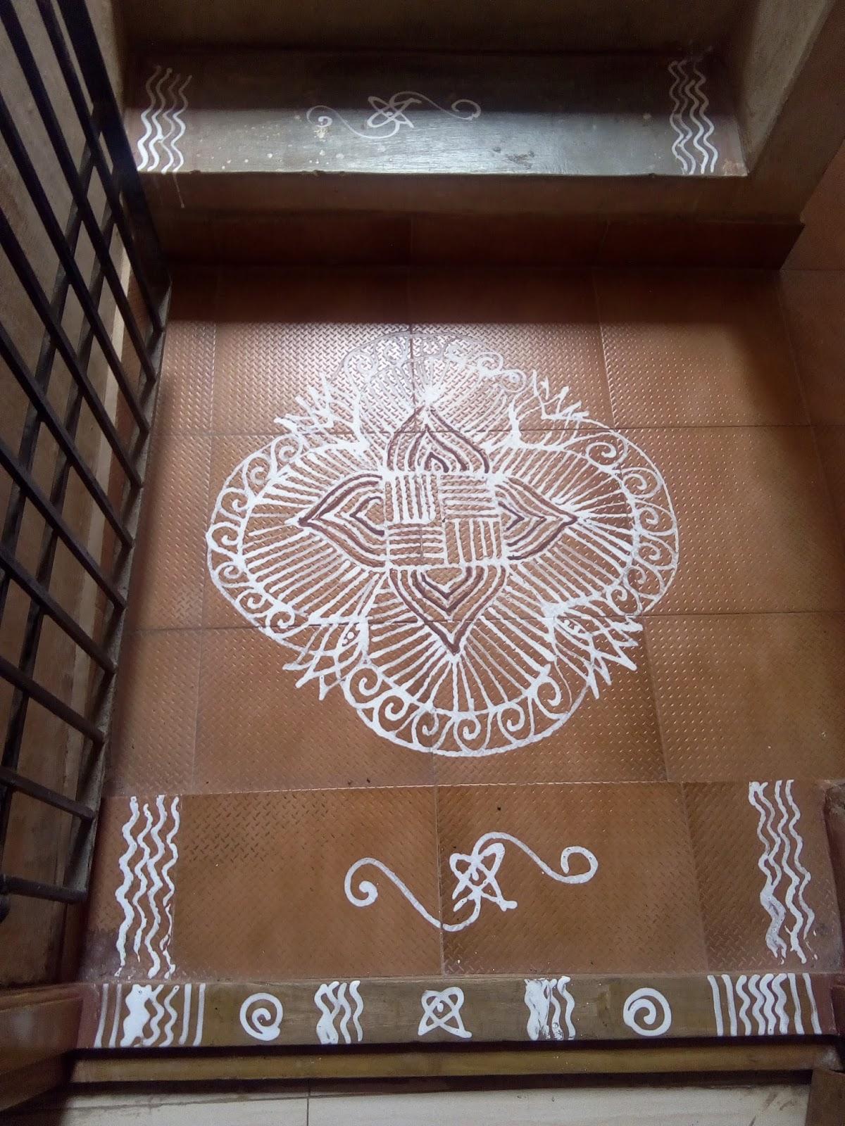Kolangal kolam designs in wet flour for apartment and for Apartment kolam design