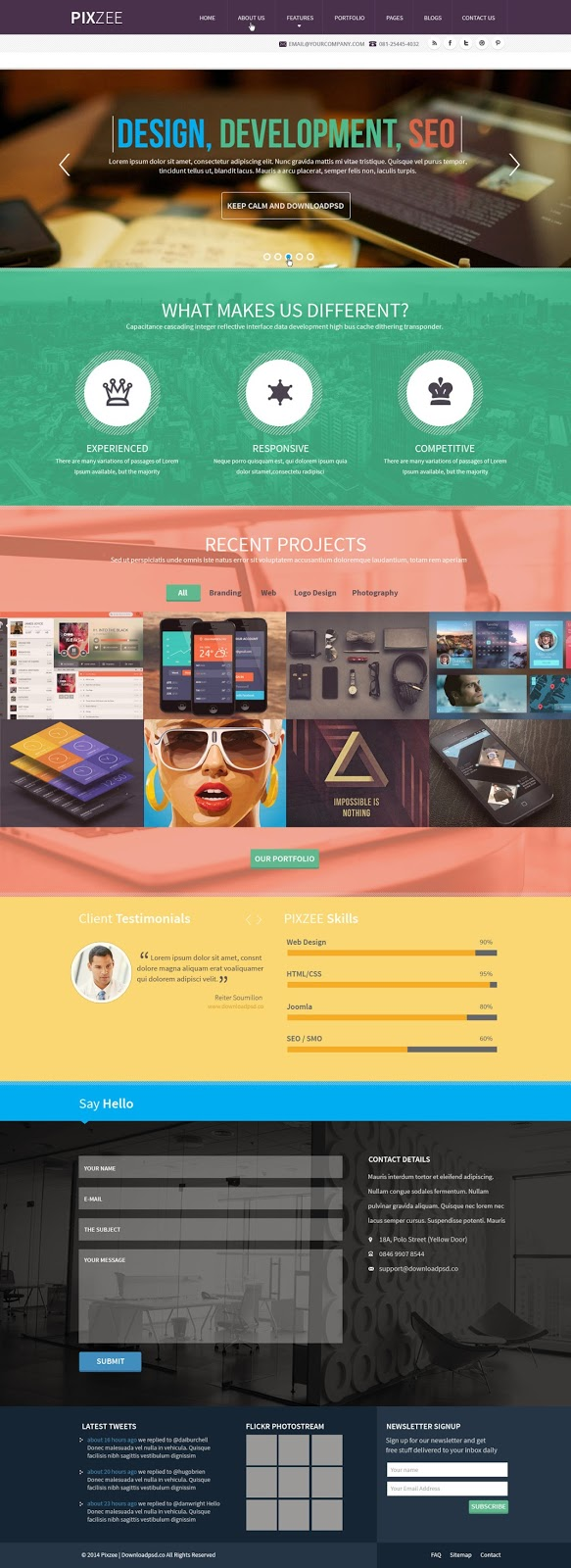 Pixzee Single Page Free PSD Personal Website
