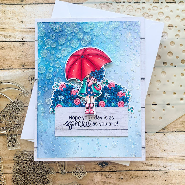 Special Day Card by February Guest Designer Caitlin Anthony | Loads of Blooms Stamp Set and Bubbly Stencil by Newton's Nook Designs