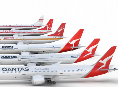 Tinuku.com Marc Newson redesigned Qantas brand logo kangaroo icon and wordmark for Boeing 787 Dreamliner