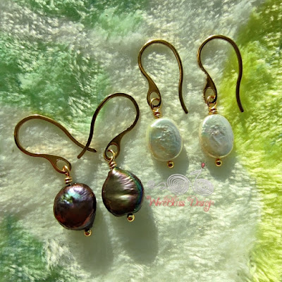 Wire wrapped coin and baroque pearl dangle earrings with vacuum plated stainless steel wire - under the morning sunlight