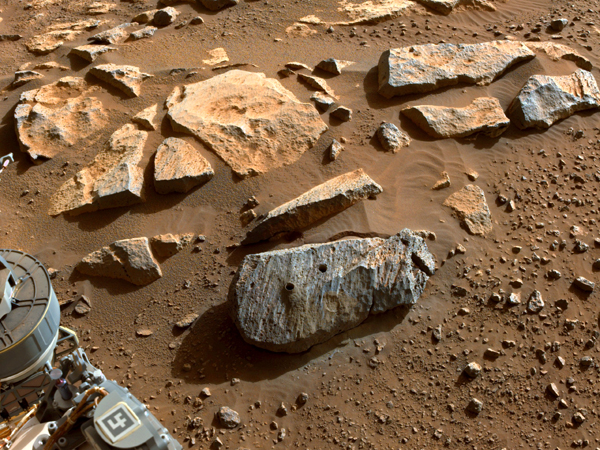 Another image of Rochette taken by Perseverance after the Mars rover extracted two core samples from this volcanic rock.