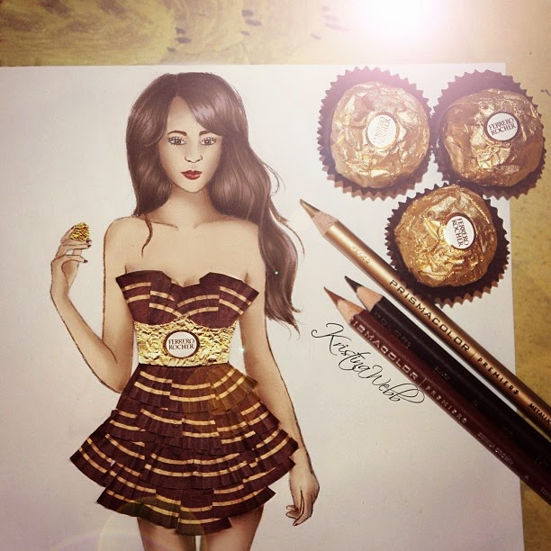 13-Ferrero-Rocher-Dress-Kristina-Webb-Colour-me-Creative-Drawings-www-designstack-co