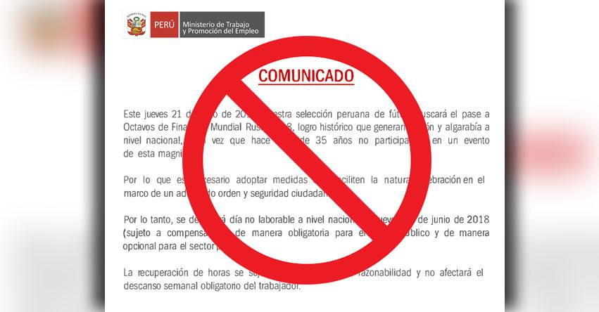 Ministerio de Trabajo advierte de falso comunicado en redes sociales sobre «Día No Laborable» el Jueves 21 Junio - www.trabajo.gob.pe