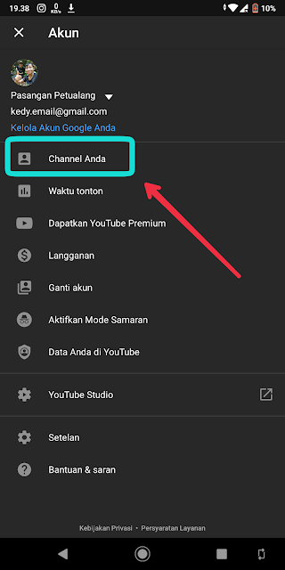 Buat channel youtube langsung di Android