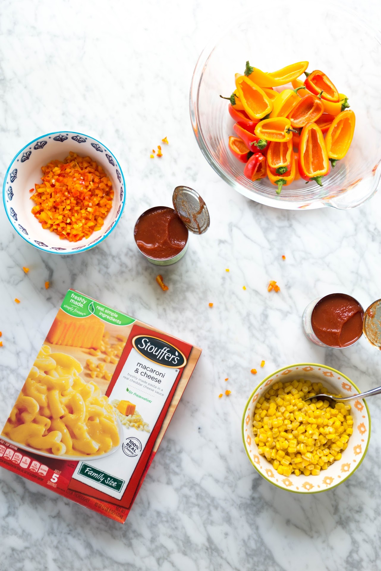 Stouffer's Family Size Macaroni & Cheese, easy dinner ideas, quick, semi homemade, prepared meals, best, meals kids love, family meals, dinner, lunch, weekday, weeknight dinner ideas, quick, easy, food blogger, lds, marble table, ingredients, photography, healthy stuffed peppers,