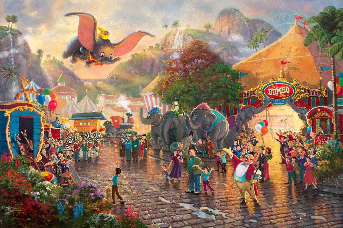 01-Dumbo-Thomas-Kinkade-Walt-Disney-Stories-Seen-Through-Paintings-www-designstack-co