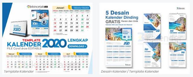 Desain Kalender tahun 2020 Gratis