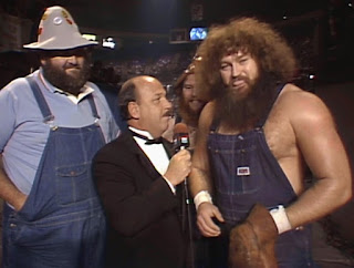 WWE / WWF Saturday Night's Main Event 2 - Mean Gene Okerlund interviews Uncle Elmer, Hillbilly Jim and Cousin Junior