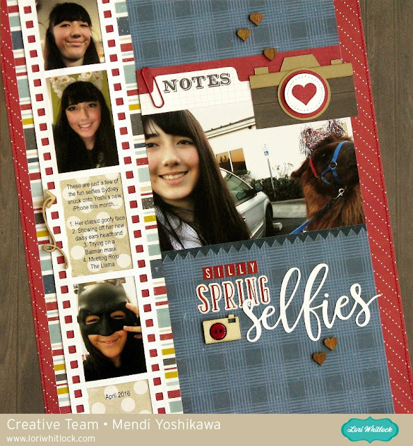 Echo Park Petticoats & Pinstripes Selfie Layout with Lori Whitlock cutting files by Mendi Yoshikawa