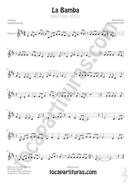 La Bamba Sheet Music for Clarinet Music Score