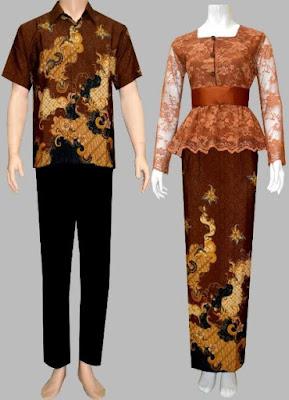 Model Baju Batik Kombinasi Brokat pasangan