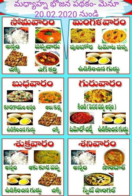 Andhra Pradesh Government Local Body Schools Mid Day Meals Menu 2020 implementation orders issued by school Education Department of Andhra Pradesh Download here AP MDM Revised Menu for 2020 from 20th January. Day wise MDM Menu for the week Days in Andhra Pradesh Govt Schools which is Teachers Headmasters have to be noted