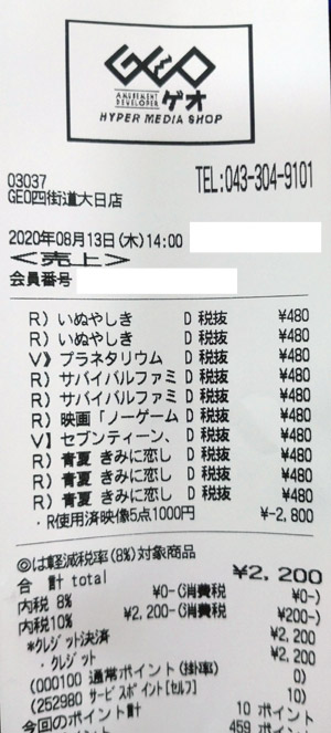 GEO ゲオ 四街道大日店 2020/8/13 のレシート