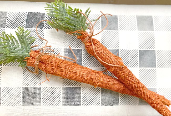Wrapped burlap carrots for an Easter Wreath