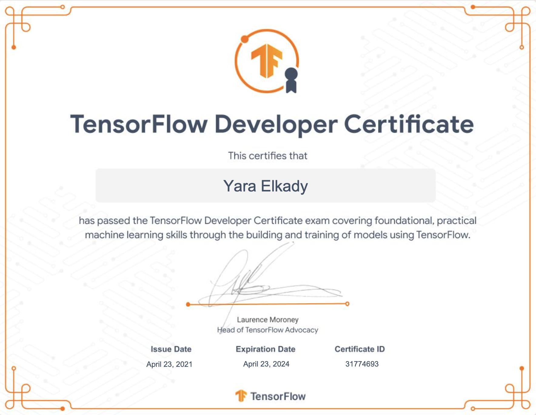 Image of Yara Elkady's TensorFlow Developer Certificate