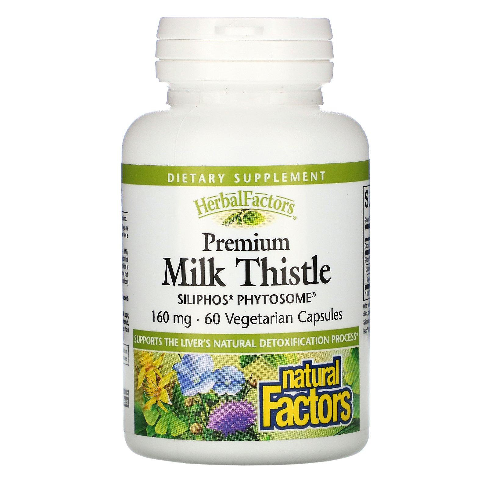 Natural Factors, расторопша высшего качества, 160 мг, 60 вегетарианских капсул