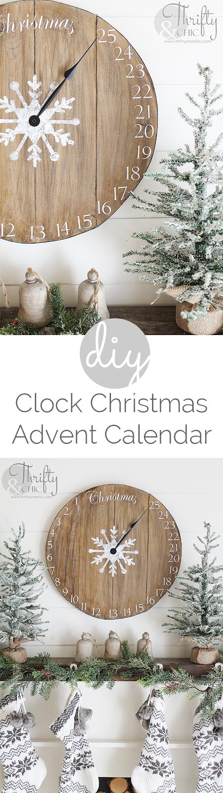 DIY wood clock advent calendar. Great farmhouse style christmas decor or decorating ideas