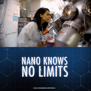 Image of a lab tech looking through a large microscope.  Text: Nano Knows No LIMITS