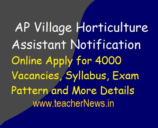 AP Village Horticulture Assistant Notification 2019 | Online Apply 4000 Vacancies, Syllabus, Exam Pattern