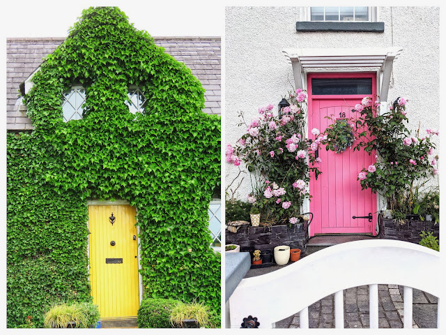 Pair of colorful doors in Rostrevor Northern Ireland